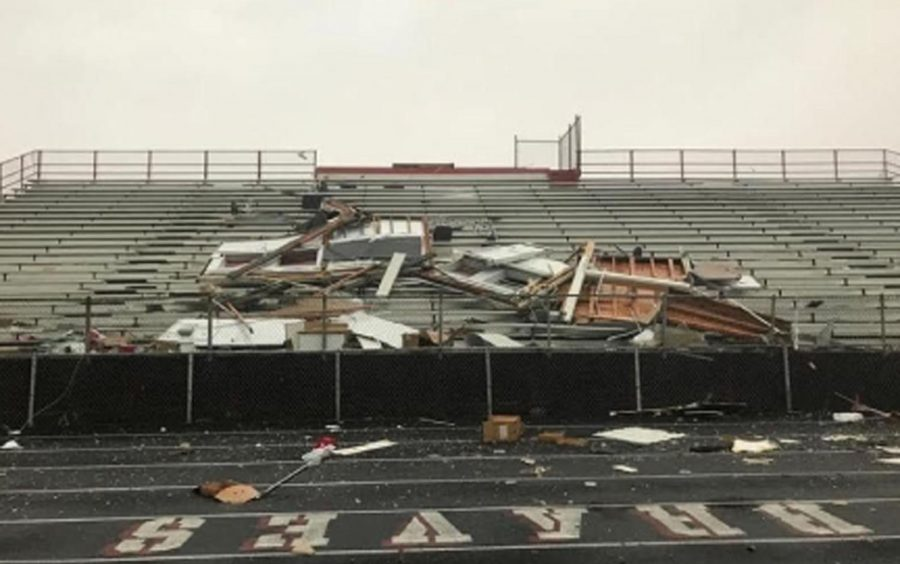 The Bremen Braves press box lies in pieces smashed against the home bleachers. An F1 tornado hit Midlothian causing significant damage to the building and grounds of the school.